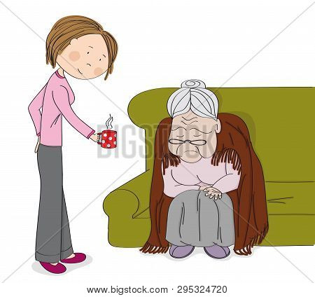 Very Old Grey-haired Senior Woman, Granny, Sitting On The Sofa, Sleeping And Snoring. Young Cheerful