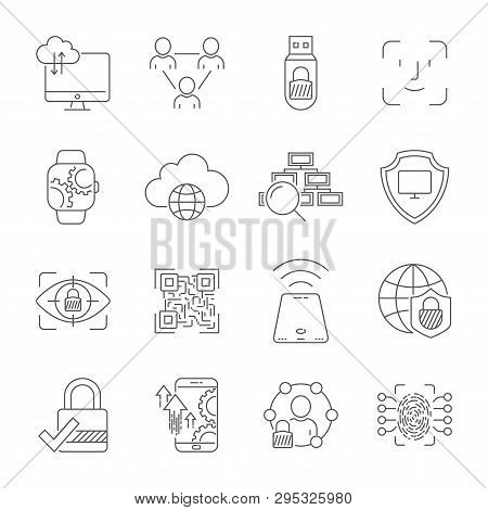 Personal Data Protection Icons, Secure Account Login, User Interface Login, Face Recognition, Site A