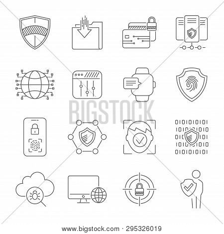 Personal Data Protection Icons, Secure Account Login, User Interface Login, Account Registration, Si