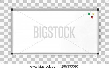 Presentation Magnetic Marker Board With Aluminum Profile, Mockup. Blank Projection Screen, Presentat