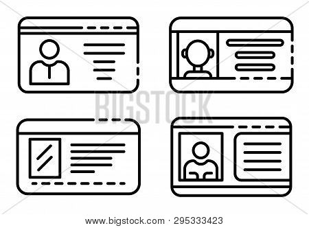Driver License Icons Set. Outline Set Of Driver License Icons For Web Design Isolated On White Backg