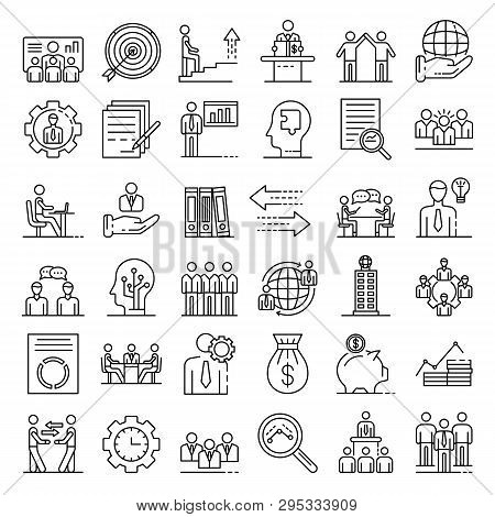 Corporate Governance Icons Set. Outline Set Of Corporate Governance Icons For Web Design Isolated On