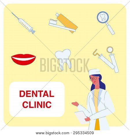 Dental Clinic Cartoon Vector Illustrations Set. Dentist, Orthodontist, Doctor. Tooth Under Magnifier