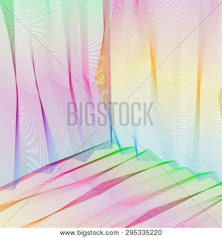 Vector Abstract Artistic Background For Design, Linear 3d Moire Texture, Inner Space Of A Room. Fant