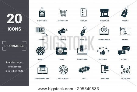 E-commerce Set Icons Collection. Includes Simple Elements Such As Shopping Bag, Shopping Cart, Wish