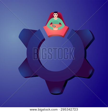 Business Concept With Office Worker And Gear. Partnership Cartoon Illustration With Male Character.