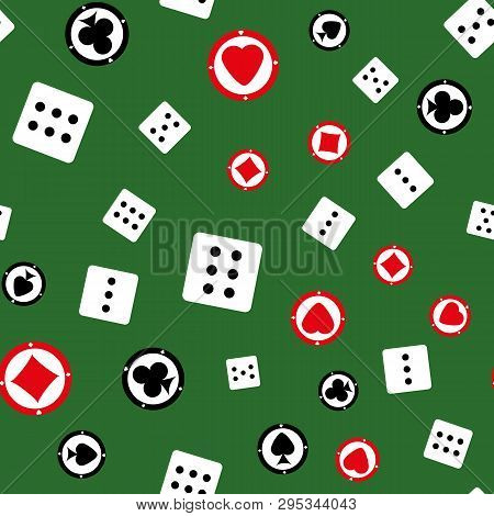 Seamless Pattern With Chips And Dices. Casino Print. Vector Illustration.