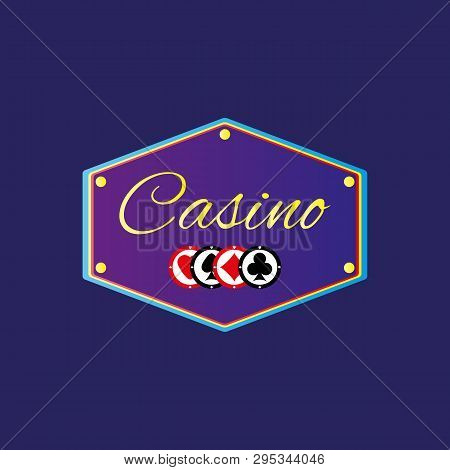 Banner With Text Casino And Chips. Logo, Sticker, Signboard. Vector Illustration.