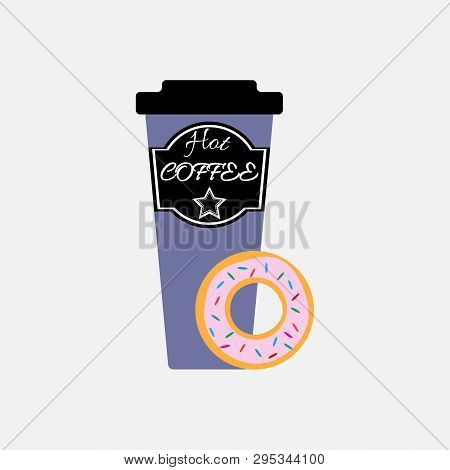 Sweet Donut And Coffee. Isolated Vector Illustration.