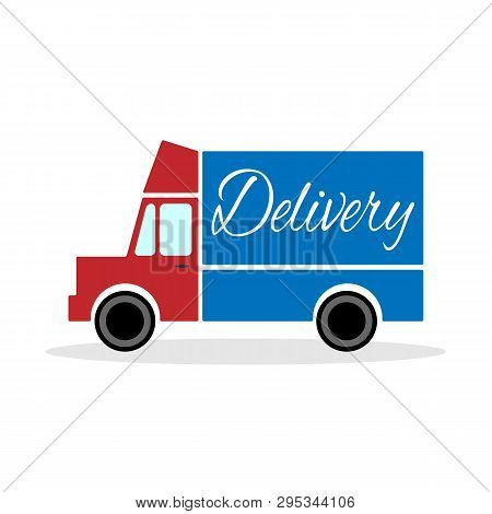 Red Delivery Truck With Blue Body. Isolated Vector Illustration.