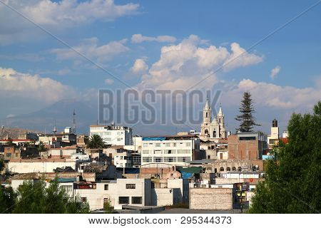 The Skyline Of Arequipa With The Belfry Of Arequipa Cathedral And Saint Augustine Church, Arequipa,
