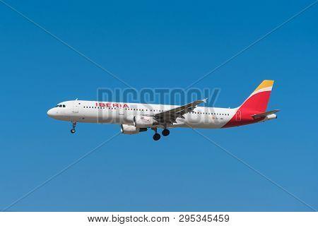 Madrid, Spain - May 22, 2017: Iberia Airbus 321 Is Landing In Madrid Barajas Airport On May 22, 2017