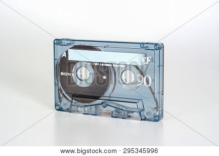 Prague, Czech Republic - February 20, 2019: Audio Compact Cassette Sony Ef 90 Normal Position. View