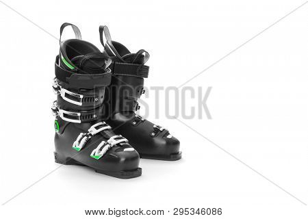 Modern professional ski boots on white background, including clipping path