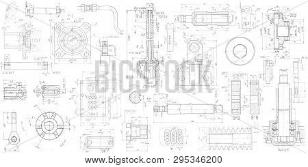 A Set Of Engineering Mechanical Parts .vector Engineering Illustration.technical Drawing Background