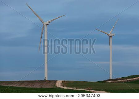 Windmill, Windfarm At La Brujula In Burgos, Spain