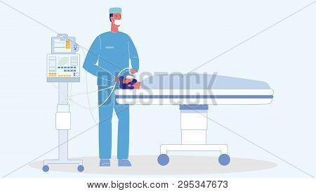 Man In Reanimation Cartoon Vector Illustration. Unconscious Patient On Bed. Medical Ventilator. Emer