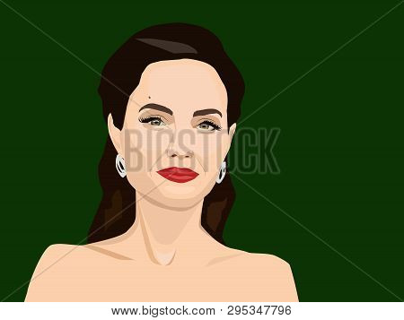 Apr, 2019: Vector Portrait Of Angelina Jolie - A Famous Actress And Philanthropist