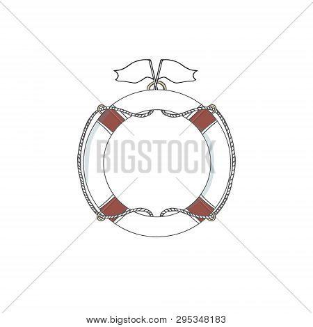 Lifebuoy Vector Red Ball Flag White Save Buoy Drawing Illustration Sea Element Ship Pool Font Flat O