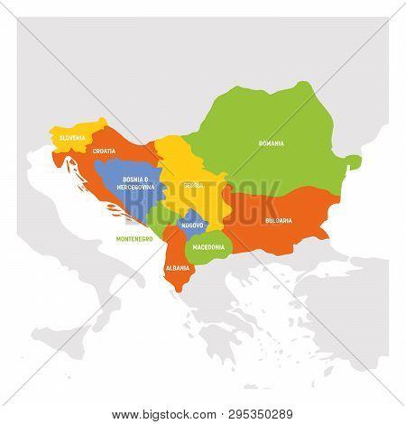 Southeast Europe Region. Map Of Countries Of Balkan Peninsula. Vector Illustration