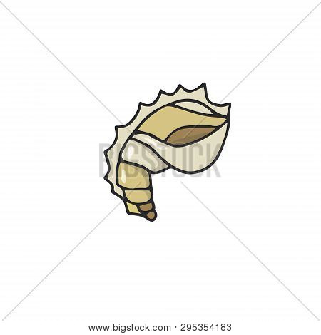 Hand Drawing Of Sea Gold Cockleshell. Logo Vector Art Illustration On White Background