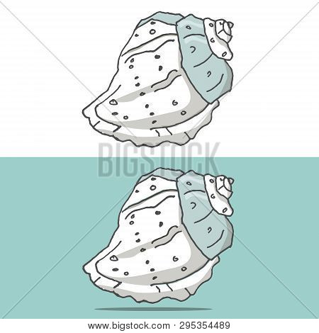 Hand Drawing Of Sea Cockleshell. Kitchen Logo Vector Art Illustration On White Background