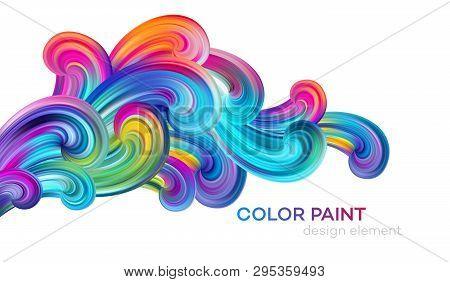Modern Colorful Flow Poster. Wave Liquid Shape Color Paint. Art Design For Your Design Project. Vect