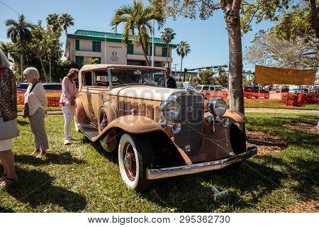 Naples, Florida, Usa - March 23,2019: Tan 1932 Cadillac At The 32nd Annual Naples Depot Classic Car
