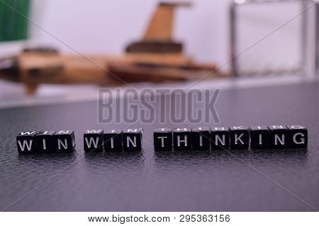 Win Win Thinking On Wooden Blocks. Cross Processed Image With Business Concept On White Background