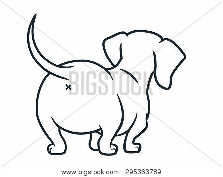 Cute Wiener Sausage Dog Vector Cartoon Illustration Isolated On White. Simple Black And White Line D