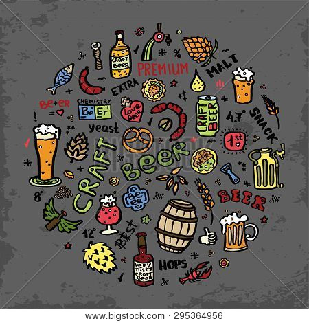 Craft Beer Hand Drawn Elements Set In Circle. Outline Black Icons Of Craft Beer Things. Craft Beer I