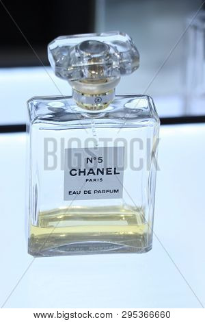 Haarlem, The Netherlands - July 8th 2018: The Famous Chanel Number 5 Eau De Perfume On Display In A