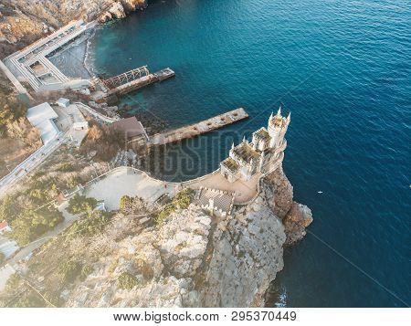 Swallow Nest - Ancient Castle On Top Of Mountain Cliff Near Sea Yalta Region, Crimea. Beautiful Famo