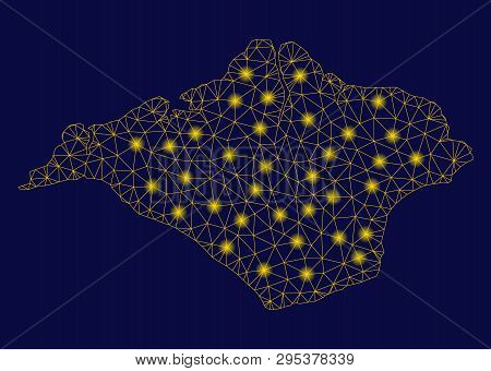 Bright Yellow Mesh Isle Of Wight Map With Glow Effect. Wire Carcass Polygonal Mesh In Vector Eps10 F