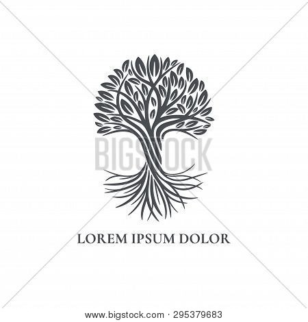 Black Tree Logo. Abstract And Modern Illustration. Isolated Vector. Great For Emblem, Monogram, Invi