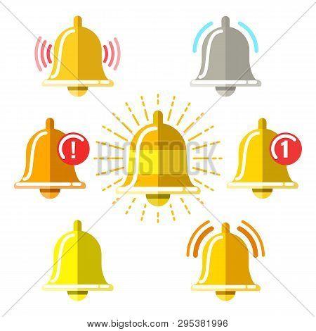 Reminder Signal Flat Icons. Vector Notification Alarm Icon Set, Morning Call Ringing Doorbells, Mess
