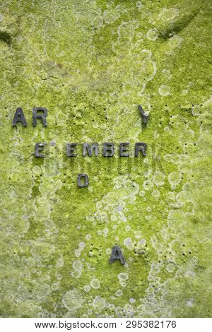 Incomplete inscription on ancient headstone found in an English cemetery poster