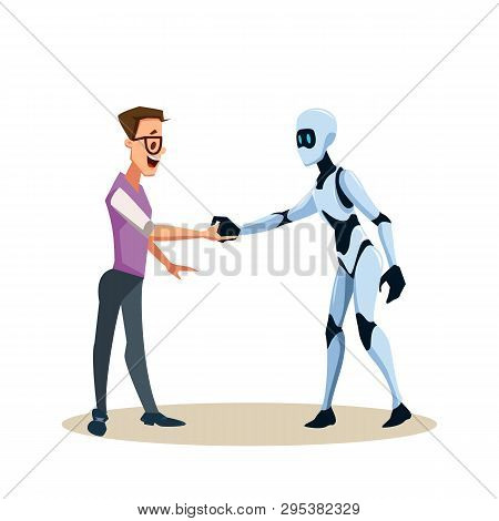 Young Smiling Man In Glasses And Robot Shake Hand. Coworking With Artificial Intelligence Character.