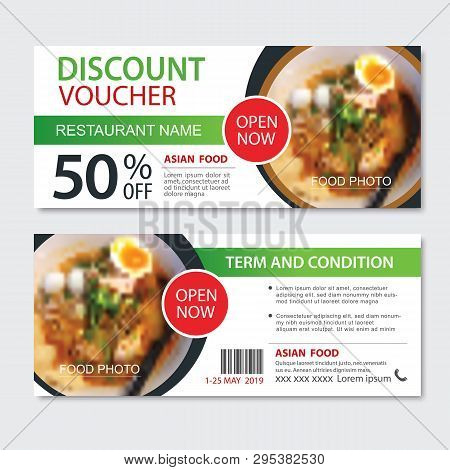 Discount Gift Voucher Asian Food Template Design. Noodles Set. Use For Coupon, Banner, Flyer, Sale,