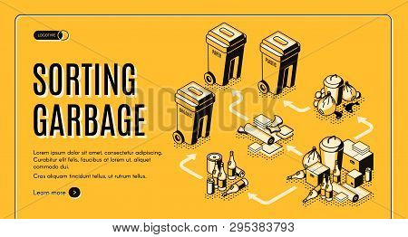 Waste And Garbage Sorting Isometric Vector Web Banner Template With Trash Bins, Containers For Paper