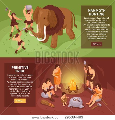 Isometric Primitive People Caveman Set Of Two Horizontal Banners With More Button Text And Human Cha
