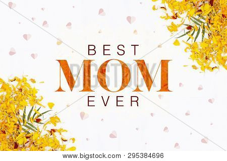 Best Mom Ever Mother's Day Layout Design With Flower Petal Background. Best Mom/mum Ever Cute Design