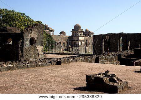 Dilapidated Stone Structures Near Hindola Mahal At Mandu, Madhya Pradesh, India, Asia