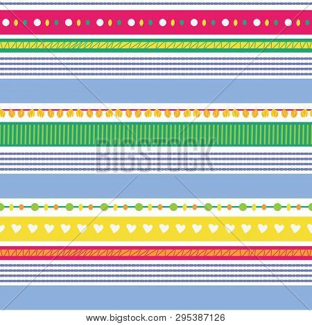 Fun Stripes With Hearts, Pompoms, Textures Seamless Vector Repeat Pattern For Fabric, Scrapbooking,