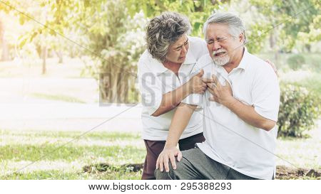 Senior Male Asian Suffering From Bad Pain In His Chest Heart Attack At Garden Park , Wife Supporting
