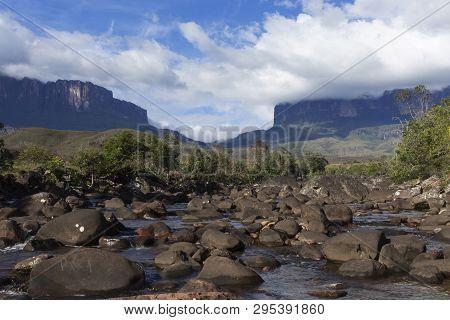 Mount Roraima And Kukenan Tepui In Venezuela, Canaima National Park.