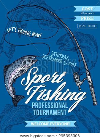 Salmon Fishing, Sport Tournament Vector Poster With Catched Fish On Hook Of Fishing Rod. Salmon And
