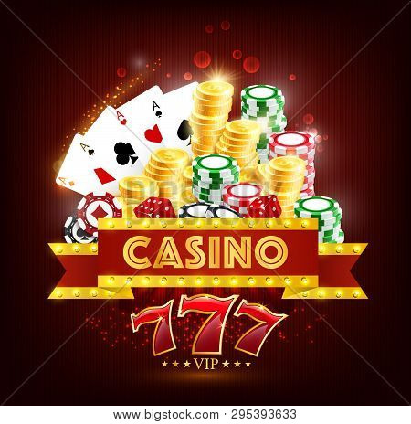 Casino Gambling Game 3d Vector Poster Of Poker And Blackjack Playing Cards, Dice, Chips And Golden C