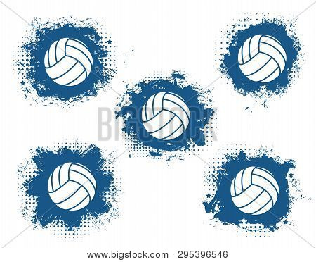 Volleyball Balls Grunge Vector Icons With Blue Halftone Sport Game Equipment. Team Player Sporting I