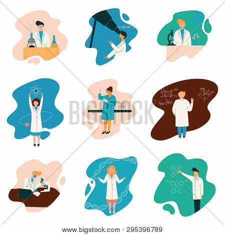 Scientists Characters Wearing White Coats Working At Researching Lab, Biologist Set, Physicist, Astr